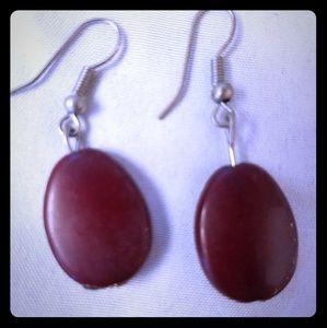 Deep chocolate burgundy oval stone earrings!